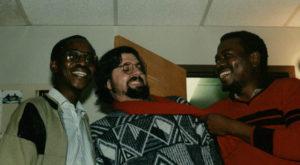 With Zimbabwean poet Chirikure Chirikure and Nigerian novelist Festus Iayi, Iowa City, 1993.